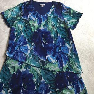 Coldwater Creek V neckline lined floral dress 22W